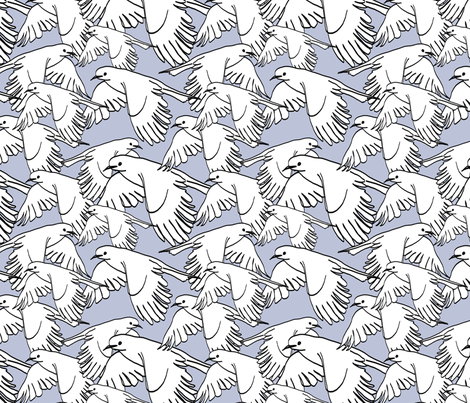 Flock of Birds Soft Blue fabric by lucyblaire on Spoonflower - custom fabric