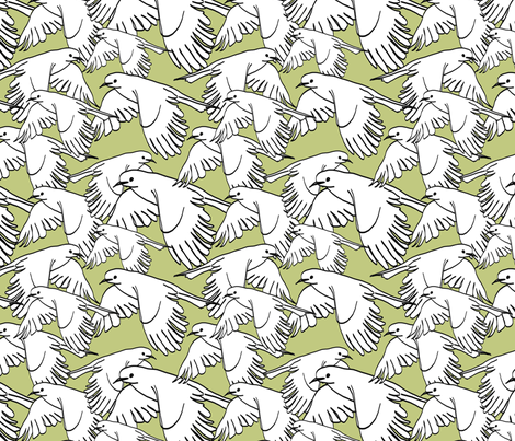 Flock of Birds Sage Green fabric by lucyblaire on Spoonflower - custom fabric