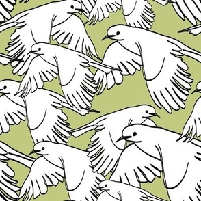 Flock of Birds Sage Green
