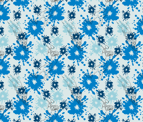 Paintball Warriors - light blue fabric by rusticcorgi on Spoonflower - custom fabric