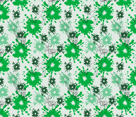 Paintball Warriors - light green fabric by rusticcorgi on Spoonflower - custom fabric