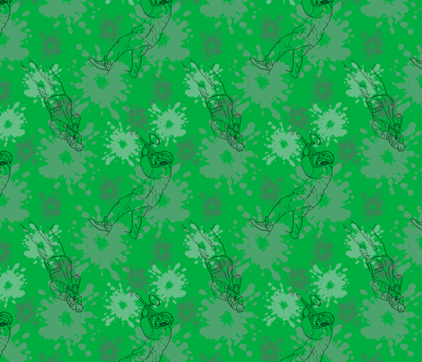 Paintball Warriors - dark green fabric by rusticcorgi on Spoonflower - custom fabric