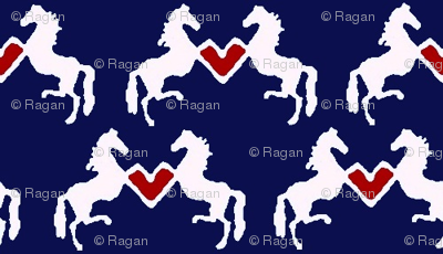 Delft Rearing Hearts - navy background
