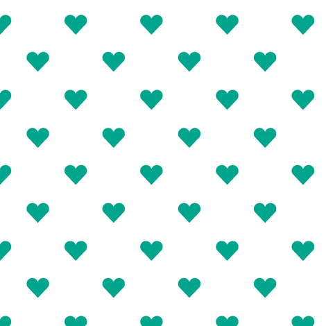hearts mini in emerald fabric by chantae on Spoonflower - custom fabric