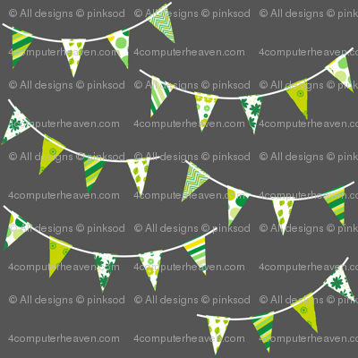 Mini Bunting! - Charcoal - Luck Be With You  -  PinkSodaPop 4ComputerHeaven.com