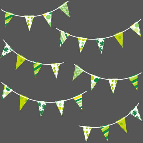Mini Bunting! - Charcoal - Luck Be With You  -  PinkSodaPop 4ComputerHeaven.com fabric by pinksodapop on Spoonflower - custom fabric