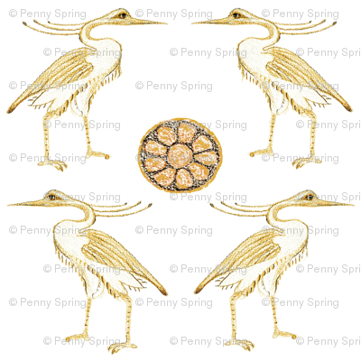Egyptian Herons with earth toned Lotus