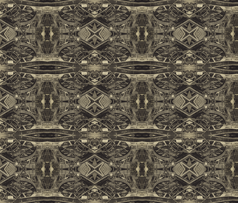 Train Crash: 4 colour sepia: Small Alternate Version fabric by callioperosehandcarjones on Spoonflower - custom fabric