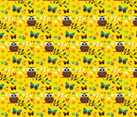 Yellow Owl fabric by ljadas_design on Spoonflower - custom fabric