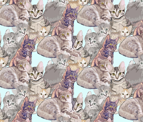 Cats and Kittens fabric mural fabric by dogdaze_ on Spoonflower - custom fabric