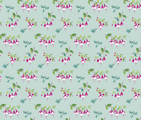 Hummingbirds Fuchsia fabric by macywong on Spoonflower - custom fabric