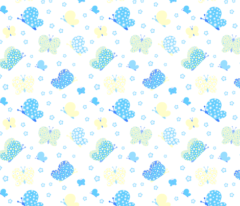 Blue And Yellow Butterfly Meadow Medium Print fabric by freespirit2012 on Spoonflower - custom fabric