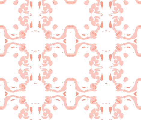 Baroque Lite, Peachy on white background fabric by susaninparis on Spoonflower - custom fabric