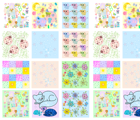 baby quilt swatches - 12 designs fabric by krs_expressions on Spoonflower - custom fabric