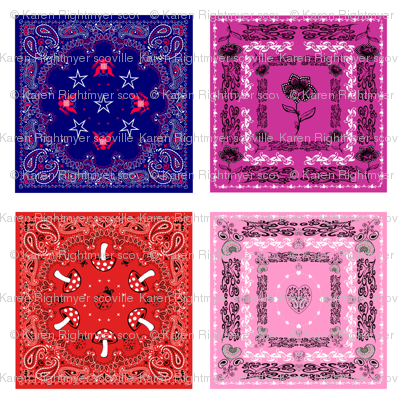 bandana quilt swatches - 4 designs