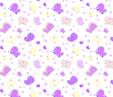 Purple And Yellow Butterfly Meadow Medium Print fabric by free_spirit_designs on Spoonflower - custom fabric