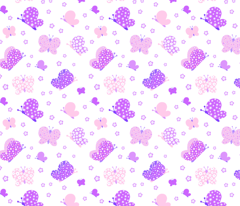 Pink And Purple Butterfly Meadow Medium Print fabric by freespirit2012 on Spoonflower - custom fabric