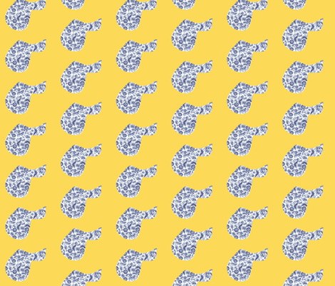 Delft Saddles on yellow fabric by ragan on Spoonflower - custom fabric