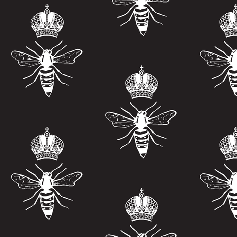 White Queen Bee on Black fabric by efolsen on Spoonflower - custom fabric