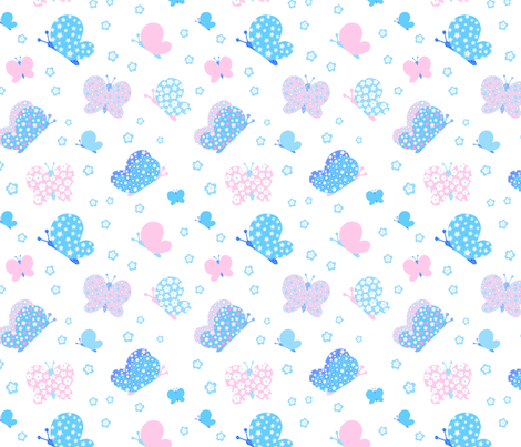 Pink And Blue Butterfly Meadow Medium Print fabric by freespirit2012 on Spoonflower - custom fabric