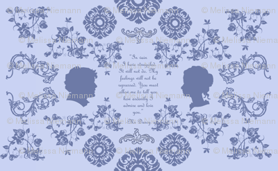 Mr. Darcy's Proposal toile in blue
