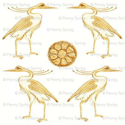 Golden Herons with Lotus