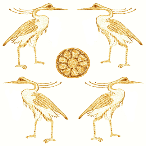 Golden Herons with Lotus fabric by bad_penny on Spoonflower - custom fabric