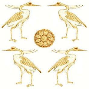 Golden Herons with Lotus