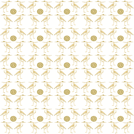 Egyptian Herons with green Lotus fabric by bad_penny on Spoonflower - custom fabric