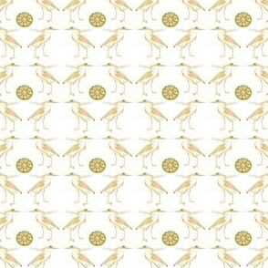 Egyptian Herons with green Lotus