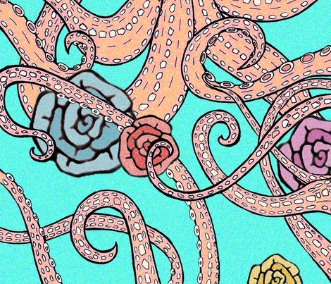 1 yard octopus with roses fabric by fantazya on Spoonflower - custom fabric