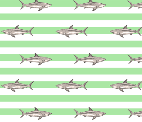 Sharks and green stripes fabric by fantazya on Spoonflower - custom fabric