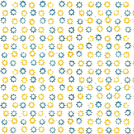 Inkblot Stars - blue and yellow fabric by ragan on Spoonflower - custom fabric
