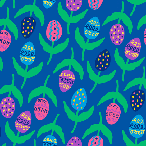 painted egg flowers fabric by lola_designs on Spoonflower - custom fabric