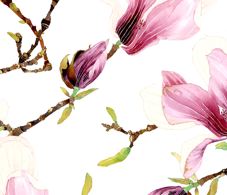 Winter magnolia fabric by gabbymalpas on Spoonflower - custom fabric