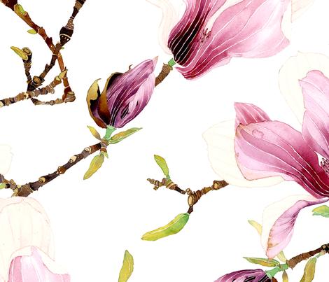 Winter magnolia fabric by gabbymalpas on Spoonflower - custom fabric