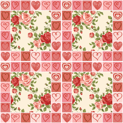 Hearts and Flowers Quilt fabric by ravynscache on Spoonflower - custom fabric