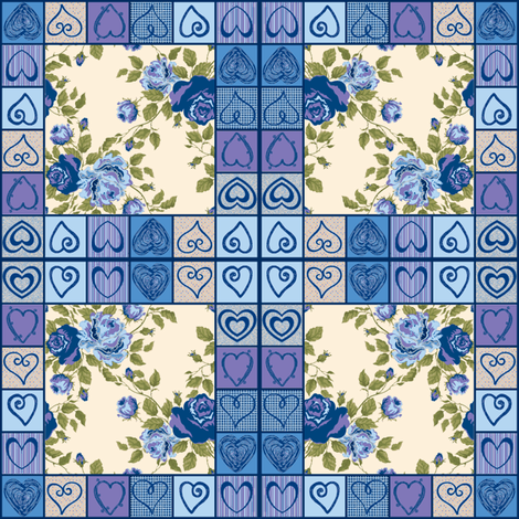 Hearts and Flowers Quilt (Blue) fabric by ravynscache on Spoonflower - custom fabric