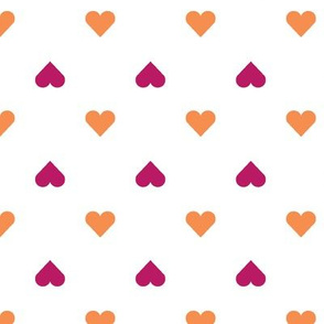 hearts in orange & fuschia