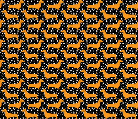 Polka Dachshunds (Black and Orange) fabric by robyriker on Spoonflower - custom fabric