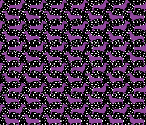 Polka Dachshunds (Black and Purple) fabric by robyriker on Spoonflower - custom fabric