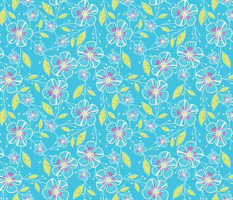 Bouquet Flowers (Blue) fabric by robyriker on Spoonflower - custom fabric