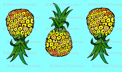Tiny Pineapples on Turquoise