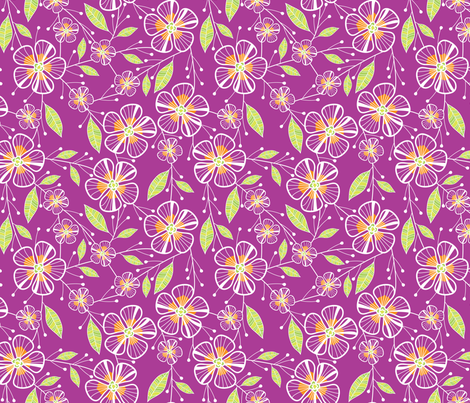 Bouquet Flowers (Pink) fabric by robyriker on Spoonflower - custom fabric