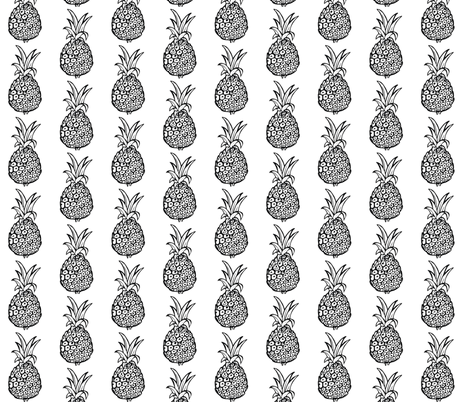 Pineapple Print in Black and White fabric by theartwerks on Spoonflower - custom fabric