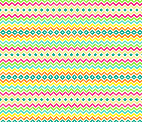 Tiny Chevron / Diamond / Tribal in Summer Bright fabric by theartwerks on Spoonflower - custom fabric
