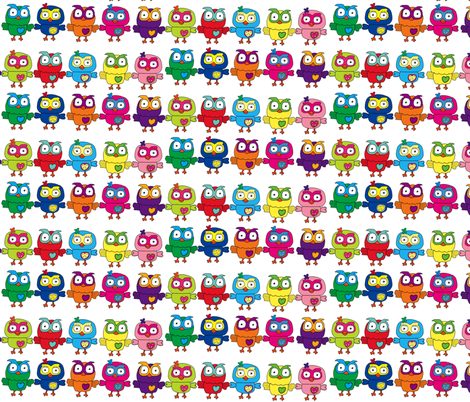 Rainbow Multicolor Owls fabric by theartwerks on Spoonflower - custom fabric