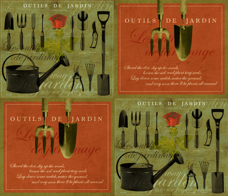 Outils de Jardin [Garden Tools] fabric by mulberry_tree on Spoonflower - custom fabric