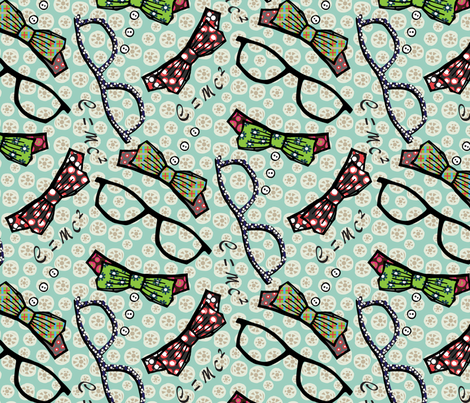 Geeky_chic_aqua fabric by pattern_addict on Spoonflower - custom fabric