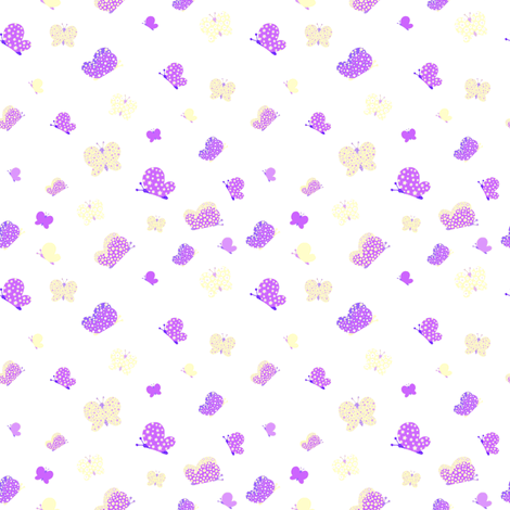 Purple And Yellow Butterfly Meadow Small Print